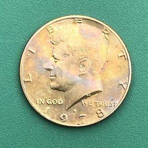 1978-D KENNEDY UNITED STATES HALF DOLLAR RAINBOW TONE GOLD&PURPLE ,