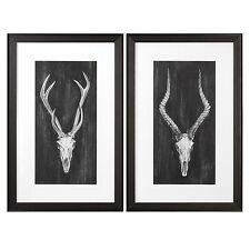 Rustic Lodge Vintage Style Deer Skull Wall Art Set | Hunting Trophy Black Gray