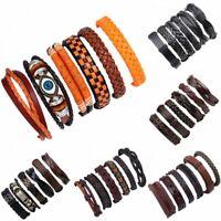 6PCS/Set Unisex Men Weave Leather Braided Wristband Cuff Punk Bracelet Bangle
