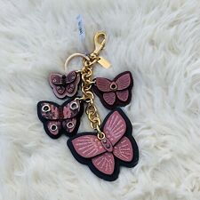 Coach Butterfly Applique Keychain Key Fob Purse Bag Charm Pink 1674 Super Cute!