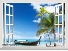 Tropical Beach Boat Palm Tree 3D Window View Sticker Wall Decals Decor Art Mural