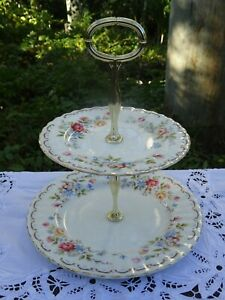 Vintage Royal Doulton Jubilee Rose Two Tier Cake Plate with Gold Stand