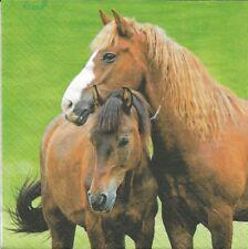 2 Serviettes en papier Cheval Decoupage Paper Napkins Two Horses