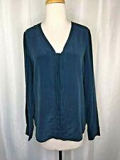 VINCE Women's Teal Long Sleeve V-Neck Silk Blouse S