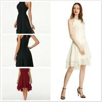 Women Halter Neck High-Waist Asymmetric Summer Sleeveless Chiffon Dress YO