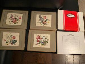 Lot 4 Pimpernel place mats floral spray corkboard tableware 12 x 9 decoratve