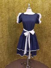 Cute Vtg SCHOOL GIRL Layered Skirt Drop Waist SUMMER DRESS S Contrast Polka Dots