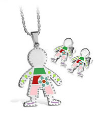 New Charming Multi-color 316L Stainless Steel Necklace Pendant & Earring Set