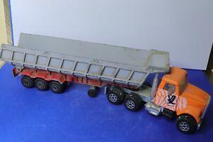 MAJORETTE ancienne 1/60 camion benne semi-remorque orange et gris