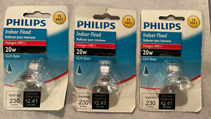3 Phillips indoor flood 20w GU4 Base Bulb New In Package