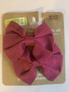 NWT Crazy 8 Hot Pink Bow Barrette Set 2011 Holiday Line Girls Hair Accessories