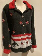 Women's ROUGH RIDER CIRCLE T Rodeo Equestrian Zip Fleece Jacket USA MADE Size S