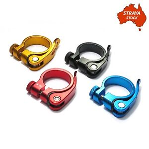 Bicycle Seat Post Clamp - Alloy Quick Release -4 Colours- 34.9mm Bike -AU STOCK-