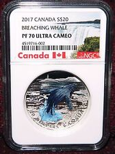 2017 CANADA $20 3-D BREACHING WHALE COLORED SILVER COIN - NGC PF70 ULTRA CAMEO