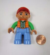 "LEGO DUPLO FARM FARMER MAN in OVERALLS 2.5"" FIGURE Rare! Dad Father Scruffy Face"