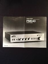 Harman Kardon PM640 Integrated Amplifier Original Owners Manual Large Glossy