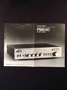 "Harman Kardon PM640 Integrated Amplifier ""Original"" Owners Manual Large Glossy"