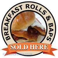 BREAKFAST ROLL & BAPS Catering shop Sign Window sticker Cafe Restaurant decal