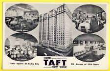 Old Postcard USA HOTEL TAFT NEW YORK 7th Avenue Coffee Shop Tap Room Grill Lobby