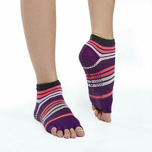Gaiam One Pair Purple Toeless Yoga Socks Size Small / Medium No Slip NEW