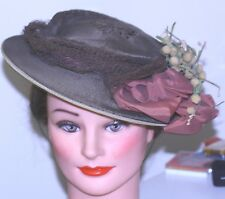 Antique Bonnet Hat c.1800's Edwardian Brown straw chenille flowers silk bow net