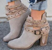 Womens Buckle Sexy Buckle Ankle Boots Suede Round Toe Chunky Block Heel Shoe