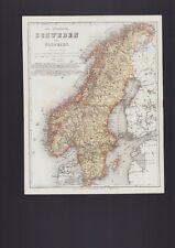 Landkarte map 1867: Die Königreiche Schweden und Norwegen.