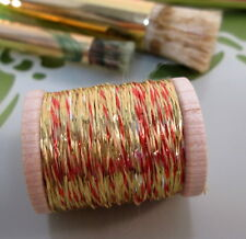 Vintage Red/ Gold Metallic Tinsel Thread Fly Tying Embroidery Weaving Knitting