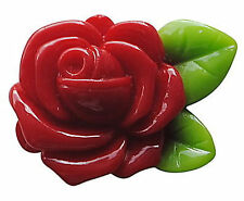 25 Resin Cabochons Deep Red Retro Roses wth Green Leaf