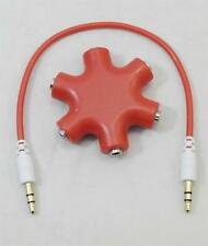 3.5mm 5 way Stereo Audio Mic Splitter Cable Earphone Headphone Adapter Hub RED