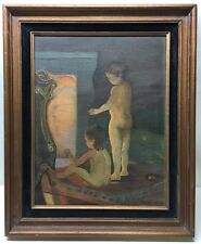 Vintage Mid Century Surreal Nude Children Laura Heap Original Oil Painting Rare