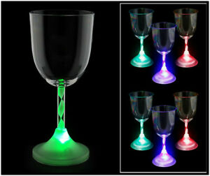 LED Light Up Flashing Wine Goblet Wine Glasses Set of 6