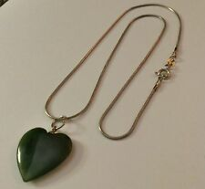 Jade Heart Pendant & Sterling Chain