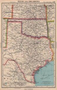 TEXAS AND OKLAHOMA. USA state map. BARTHOLOMEW 1944 old vintage plan chart