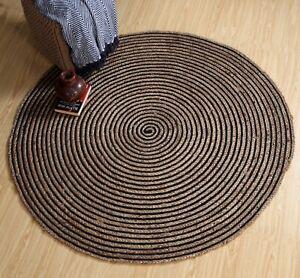 CHAKKAR DARK Stripe Braided Jute Round Rug Small Medium Large Extra Large