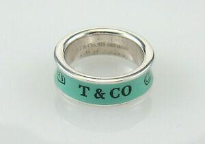 Tiffany & Co Sterling Silver & Blue Enamel 1837 Ring Sz 6.25