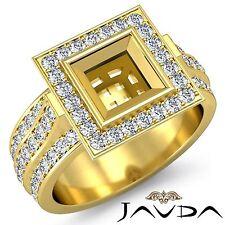 Yellow Gold Princess Semi Mount Ring 1.65Ct Diamond Engagement Halo Bezel 14k