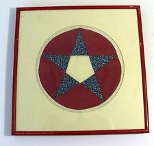 Framed Quilting Block - Star with Flowers Pattern - Round