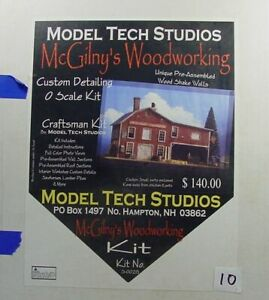 O SCALE On3/On30 MODEL TECH STUDIOS McGILNY'S WOODWORKING  STRUCTURE KIT W INT.