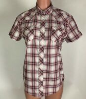 Kuhl Womens Shirt Top Blouse Pink Gray Purple Plaid Snap Front Size M
