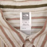 The North Face Short Sleeve Button Up Shirt Men's Size Large Striped White Beige