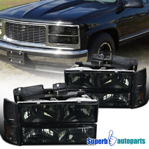 For 1994-1998 GMC C10 C/K Sierra Headlights+Bumper Corner Lights Smoke