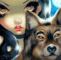 Fairy Face 169 Jasmine Becket-Griffith SIGNED 6x6 PRINT wolf faery