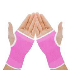 2 Elasticated Pink Palm Glove Left Right Hand Wrist Supports Sleeve Brace Gym
