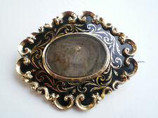 Antique Victorian Gold & Enamel Mourning Brooch c1850 with Glazed Locket Back
