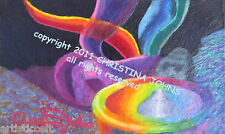 MYSTERIES OF THE SKY by CHRISTINA JOHNS Original Acrylic UFO Painting Good Gift!