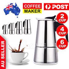 2/4/6-Cup Percolator Stove Top Coffee Maker Moka Espresso Latte Stainless Pot GT