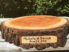 Willow Wood (15-16 inch) Slab W/wood Burning Rustic Cake Cupcake Stand Wedding