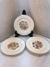 "Vtg 6pc 30's Harker Pottery 6.25"" Bread Plates Needlepoint Cottage Rose Flower"