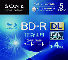 5 Sony 3D Bluray Dual Layer 50 GB 4x Speed BD-R DL Printable Region Free Discs